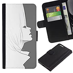 KLONGSHOP / Tirón de la caja Cartera de cuero con ranuras para tarjetas - Art 60'S Fashion Hair Pencil Drawing - Apple iPhone 6 PLUS 5.5