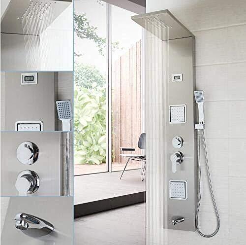 Fashion Column - PATNICK Shower System Bathroom Fashion Shower Column Shower Panel Hand Shower Massage Jets Brushed Nickel Plate Shower Faucet