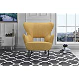 Mid Century Modern Linen Fabric Accent Armchair With Shelter Style Living  Room Chair (Yellow