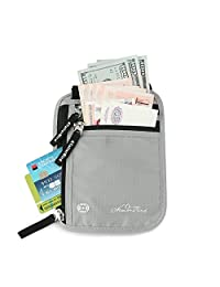 ATailorBird Travel Neck Pouch Passport Holder Wallet with RFID Blocking - Protect Your Money, Passport, Credit Cards, Cell Phones - Use As Travel Wallet or Hidden Wallet, Gray