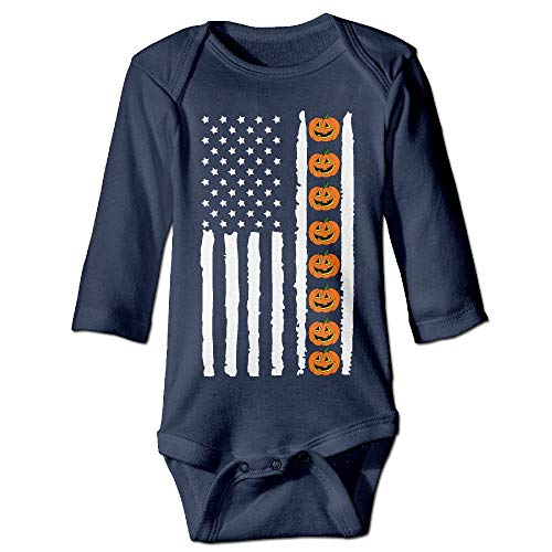 Infant Baby Girls Long Sleeve Baby Clothes Halloween Pumpkin USA Flag-1 Print Jumpsuit Onesie Navy -