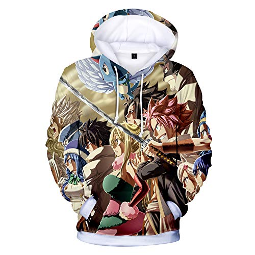- Fashco Anime Fairy Tail 3D Printed Hooded Sweatshirt Adult Cosplay Pullovers (Style 4, Large)