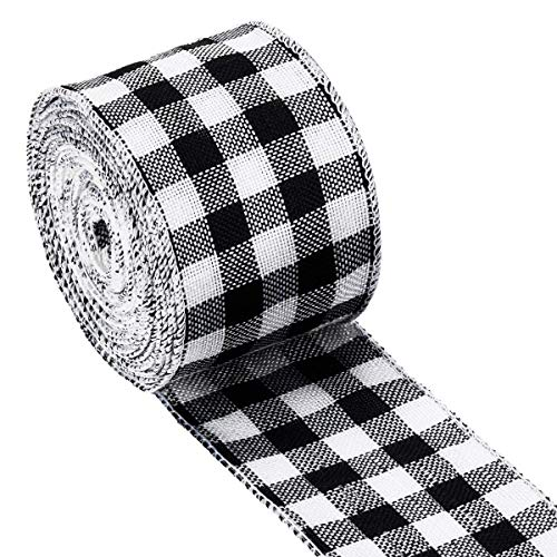 """WAVEYU Buffalo Check Plaid Wired Ribbon Gingham Ribbon 2″ Wide 236"""" Length for Christmas Tree,Wreath Bows,Festive Farmhouse Decoration,Gift Wrapping Crafts,Floral Arrangement,Black and White"""