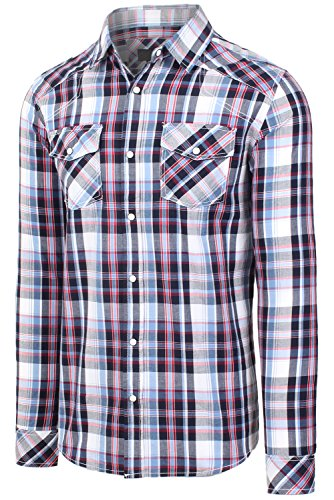 Hipster Western Plaid Long Sleeve Pearl Snap Shirt 08RED Checkered Shirts (Sleeve Western Plaid Shirt)