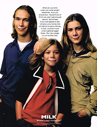 "Taylor & Zac & Isaac Hanson - Got Milk ? - Magazine Ad - Year 1997-11"" x 8"" Teen Magazine Poster Pinup Clipping"