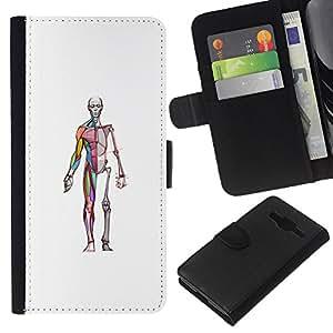 KingStore / Leather Etui en cuir / Samsung Galaxy Core Prime / Squelette Docteur Chirurgien