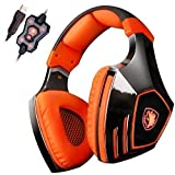 Sades A60 7.1 Surround Sound Stereo PC Pro USB Gaming Headsets Over-ear Headphones with Microphone Vibration (Orange) Review