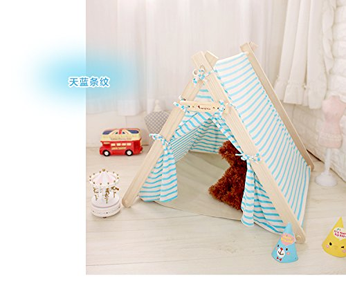 Removable Washable Canopy Teepee Indian Tent Kennel Bed for Dog Cat Small Animal (Blue Striped (L))