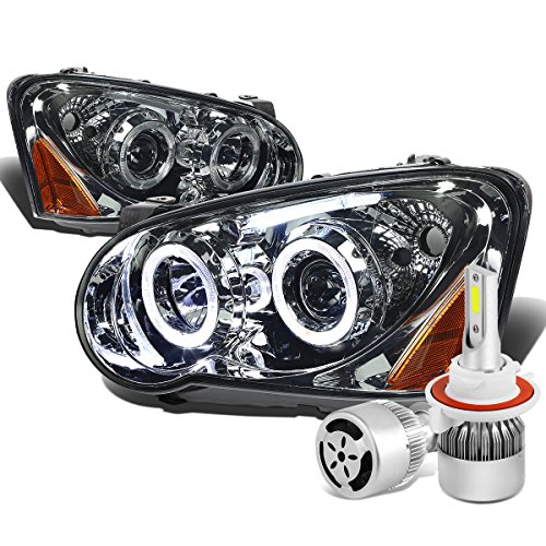 Impreza GD GG Angel Eyes Smoked Lens Amber Corner Dual Halo Projector Headlight + H3 LED Conversion Kit W/ Fan
