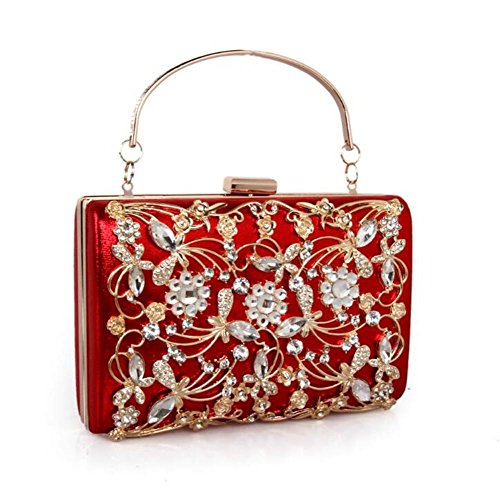 Noche Vestido Multicolor Diamante Red Cuero Hombro Bolso Gold Boda Bolsos Fiesta Wbag Mujeres De Metal Las qwTARCX