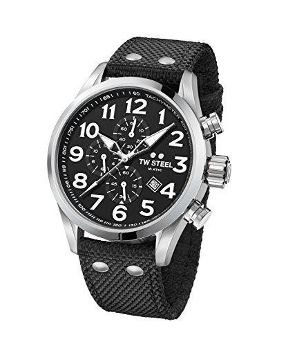TW Steel Men's 'Volante' Quartz Stainless Steel and Nylon Dress Watch, Color:Black (Model: VS3)