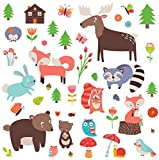 Woodland Animals Decorative Peel & Stick Wall Art Sticker Decals for Kids Room or Nursery