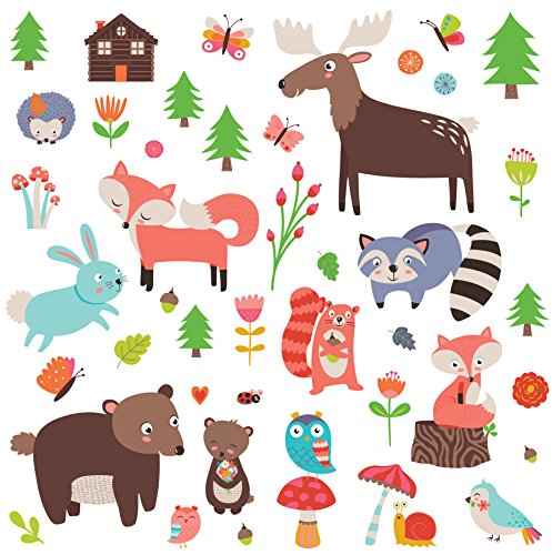 Woodland Animals Decorative Peel & Stick Wall Art Sticker Decals for Kids Room or Nursery by CherryCreek Decals