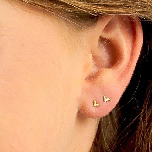 Tiny Earring Set, Gold Stud earrings, Small Bird Post Earring, 14K Solid Gold Studs, Unique Gold Earrings, Handmade Designer Jewelry