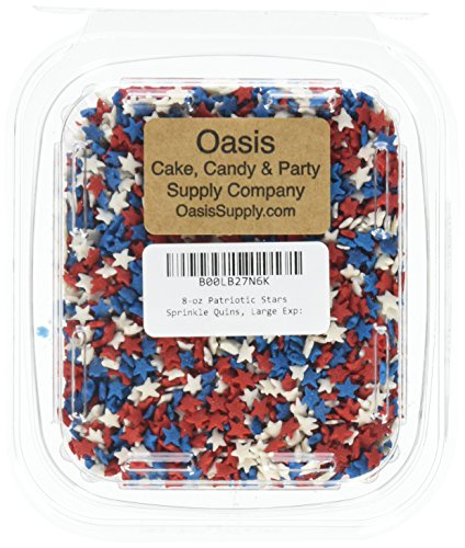 Oasis Supply 8-Ounce Patriotic Stars Sprinkle Quins,