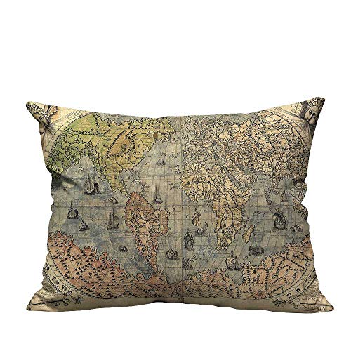 alsohome Zippered Pillow Covers Ancient Map of World Global History Stained Paper Oceans Lands Atlas Educationa Decorative Couch12x16 inch(Double-Sided ()