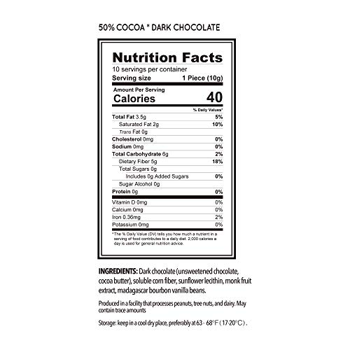 Large Product Image of ChocZero 50% Dark Chocolate, Sugar free, Low Carb. No Sugar Alcohol, No Artificial Sweetener, All Natural, Non-GMO - (3 Bags, 30 Pieces)