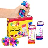 Sensory Toy Package by Vital Toys/4-Pack Autism Toys/Includes 2 Liquid Motion Timer & 2 DNA Balls/Sensory Toys for Autistic Children/Fidget Sensory Toys/Calming Toys for Anxiety