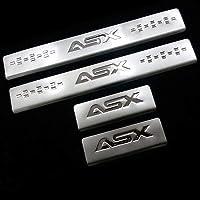 4Pcs Auto Rvs Instaplijsten Kick Platen voor Mitsubishi Asx 2012-2020, Anti-Vuile Auto Buitenste Scuff Antislip Welkom…