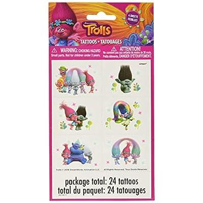 Unique Trolls Color Tattoo Sheets, 24 Ct.: Toys & Games