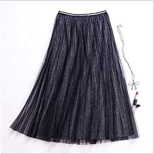 Black Women's Holiday A Line Skirts  Solid colord High Waist Slim