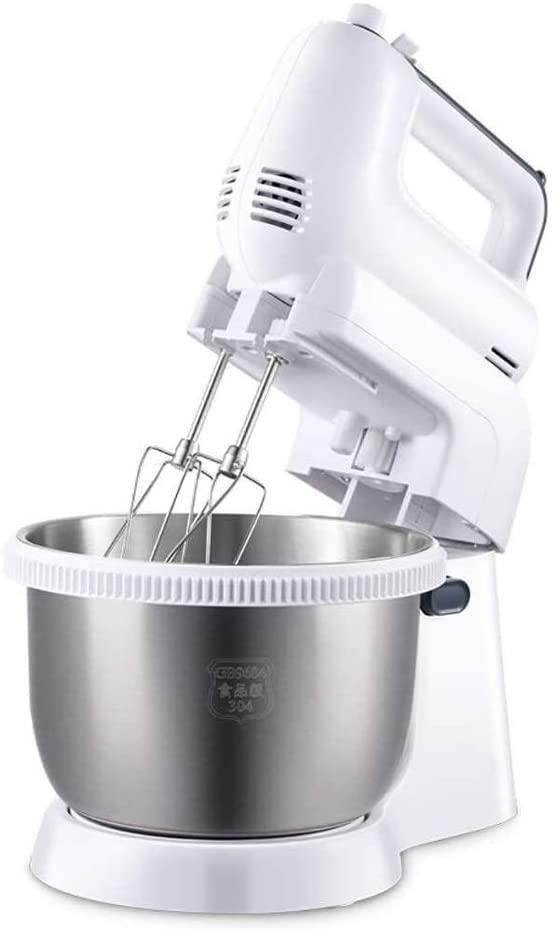 HLWAWA Stainless Steel Stand Hand-Held Dual-Purpose Electric Mixer 5-Speed 300W Automatic Rotating Bowl Egg Beater