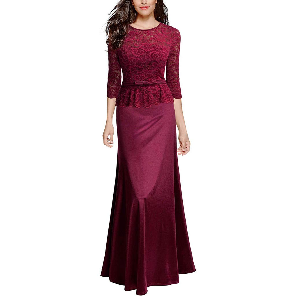 TANLANG Womens Elegant Floral Lace Applique Evening Ballroom Gowns Maxi Dress Formal Cocktail Dress Tight Prom Dresses Long Red