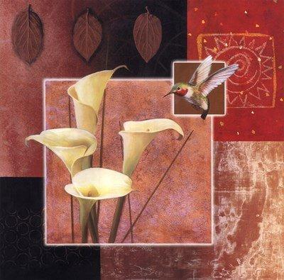 Calla Lily/Butterfly by Tan Chun - 26x26 Inches - Art Print Poster (Tan Chun Lily)