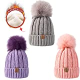 REDESS Kids Winter Warm Fleece Lined Pom Pom Beanie Hat's, Baby Toddler Knit Cap 3-pack