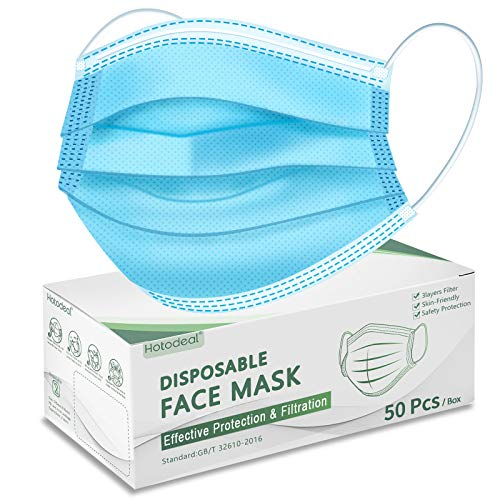 Hotodeal Disposable Face Masks, Breathable Face Mask 3 Ply Mask