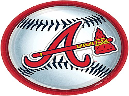 Amscan Baseball Dream Atlanta Braves Disposable Round Luncheon Paper 9'' 8 Others Party Supplies (216 Piece) by Amscan