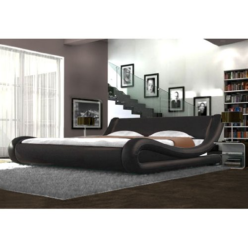 faux leather brown curved bed frame modern italian designer bed unique stylish bed 4ft6 double bed amazoncouk kitchen home - Designer Bed Frames