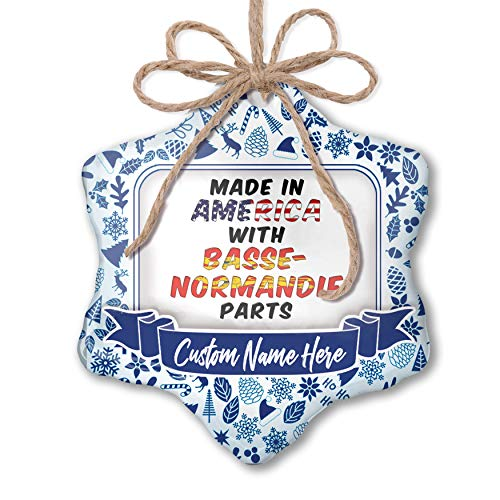 (NEONBLOND Custom Tree Ornament Made in America with Parts from Basse-Normandie with Your Name)