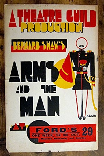 ARMS AND THE MAN 1920's THEATER WINDOW CARD POSTER ~ GEORGE BERNARD SHAW CLASSIC