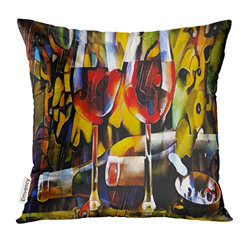 Golee Throw Pillow Cover Colorful Wine Themes in The of Cubism Bottles Glasses and Grapes on Table Executed Oil Canvas with Pastel Decorative Pillow Case Home Decor Square 16x16 Inches Pillowcase