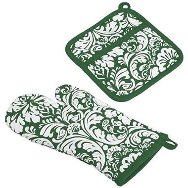 DII 100% Cotton, Machine Washable, Everyday Kitchen Basic, Damask Printed Oven Mitt and Potholder Gift Set, Dark Green