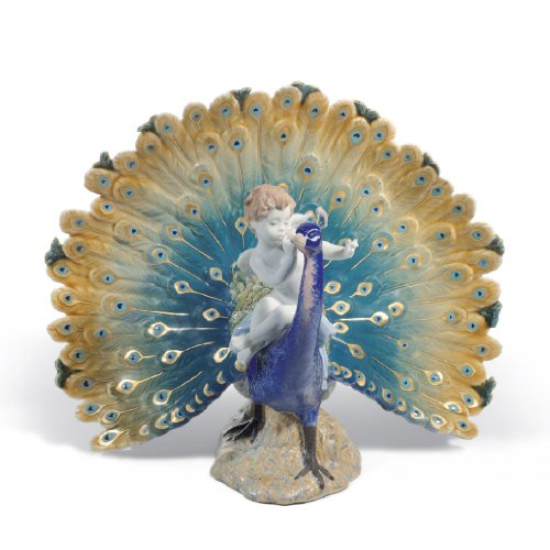 Lladro Cherub On A Peacock Figurine - Plus One Year Accidental Breakage Replacement