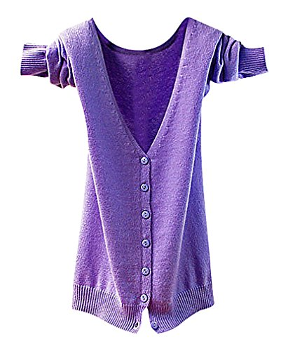 Maze, Women's Long Sleeve Buttoned Ribbed Cuff V Neckine Short Sweater Cardigan, LightPurpleV XL ,Manufacturer(XXL)