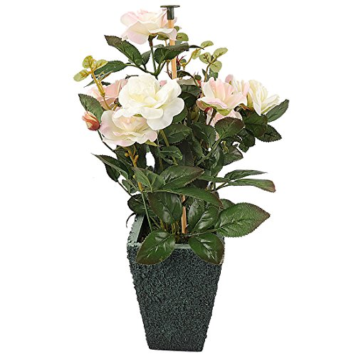 Potted Flower Centerpiece (RERXN Artificial Potted Rose Silk Flower with Ceramic Pot for Home Office Restaurant Table Centerpiece Decorative (White))