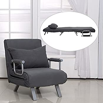 Amazon Com Homcom 5 Position Folding Sleeper Chair Grey