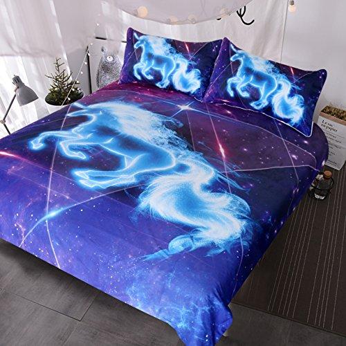 (BlessLiving Galaxy Blue Unicorn Bedding Boys Girls Sparkling Star Duvet Cover 3 Piece Unicorn of The Universe Kids Teens Bed Spread (Full))