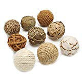 Jodhpuri Decorative Spheres for Centerpieces – Rope and Weave Rattan Vase Filler Bowl Mix for Table Décor – Natural – 9 Assorted Pieces