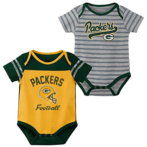 Outerstuff NFL NFL Green Bay Packers Newborn & Infant Dual-Action 2 Piece Bodysuit Set Gold, 18 Months