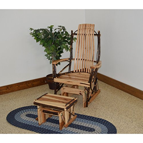 A & L Furniture Co. Amish Bentwood Hickory Glider Rocker with Ottoman Set - Ships Free in 5-7 Business Days