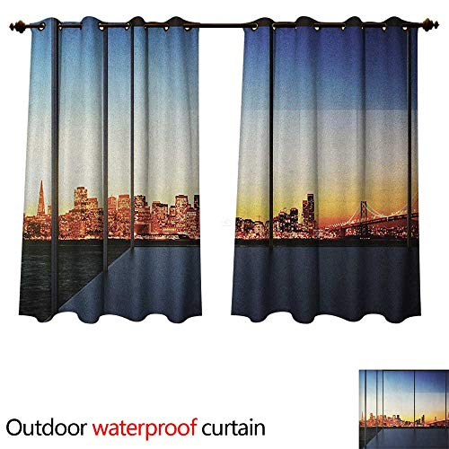 Anshesix Modern Home Patio Outdoor Curtain Sunset in New York City USA Cityscape with Bridge Skyscrapers Image Print W63 x L72(160cm x 183cm)