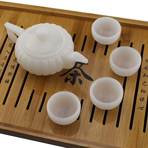 Cup Jade Chinese (Tipmant Chinese Tea Set Nature Afghanistan White Jade Hand-carved (1 Teapot with 4 Teacups))