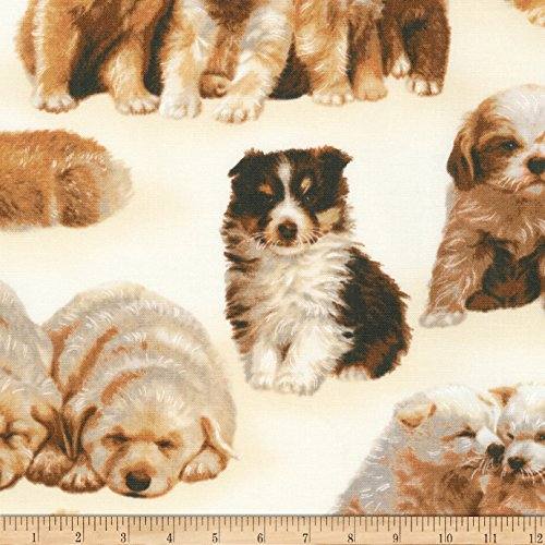 Robert Kaufman Whiskers and Tails Puppies Ivory Fabric by The Yard