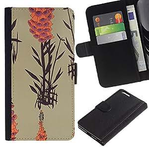 Apple (5.5 inches!!!) iPhone 6+ Plus Modelo colorido cuero carpeta tirón caso cubierta piel Holster Funda protección - Art Nature Plant Lake Orange Beige