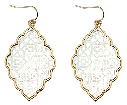 StylesILove Womens Trendy Two-Tone Cut Off Filigree Quatrefoil Long Chain Pendant Necklace Dangle Earring (Gold Border+Silver - Earrings)