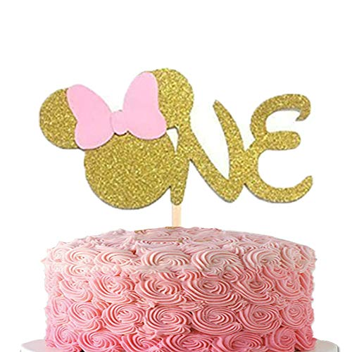 First 1st One Year Cake topper ONE Pink Gold Glitter Cake Decoration for Girl